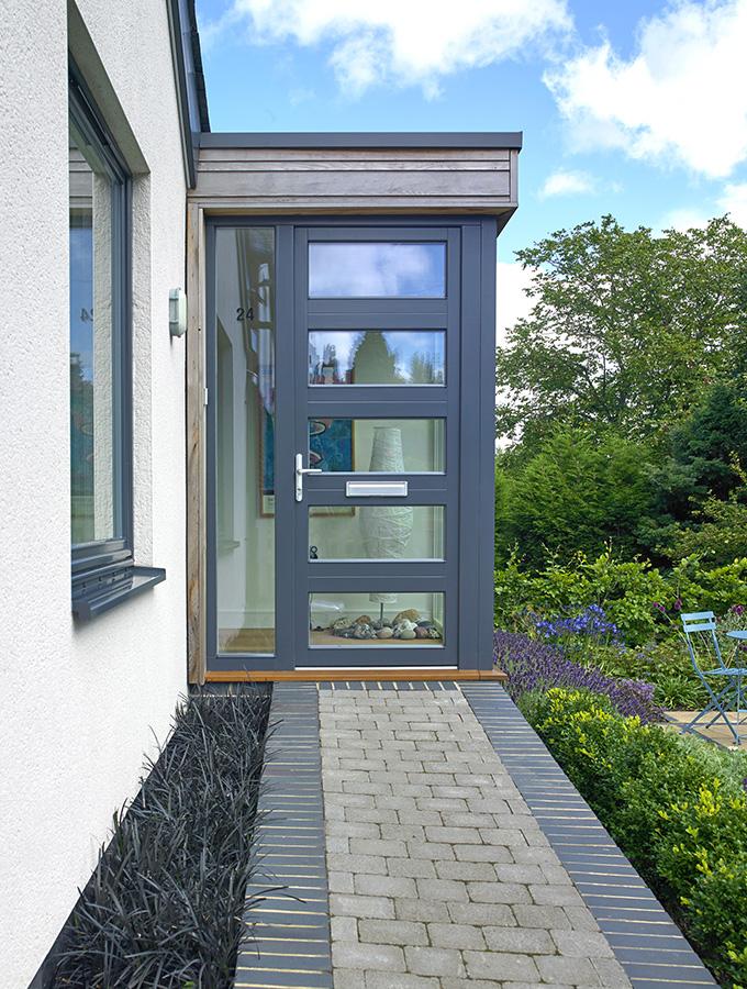 grey aluminium glazed thermal external door