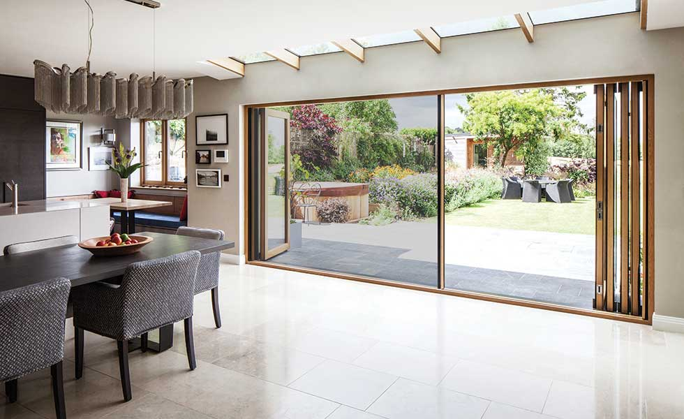 Folding sliding doors with insect screen