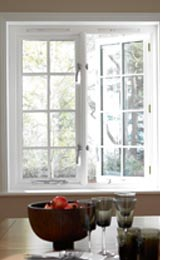 white casement window half open