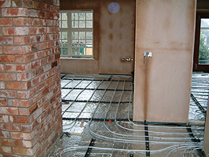 second fix and the underfloor heating being installed
