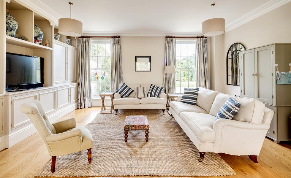 large sash windows in living room