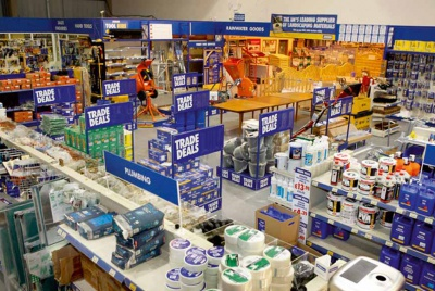 Building materials in a DIY store