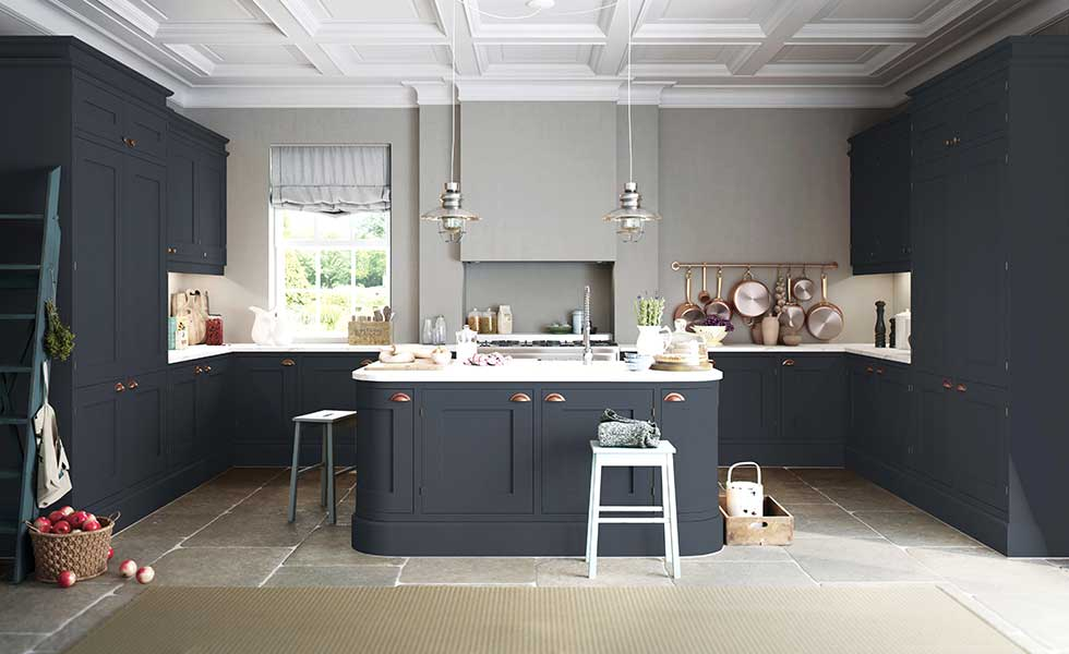 grey country kitchen with island