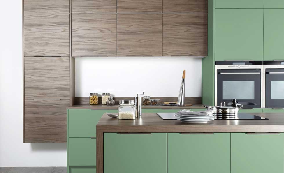 contemporary green kitchen
