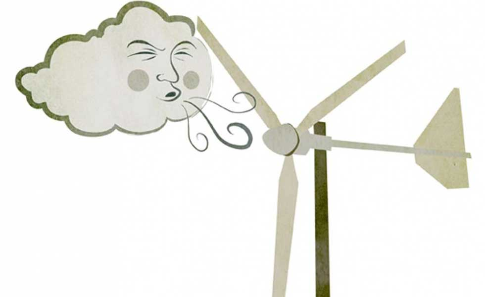 wind turbine illustration with the wind blowing