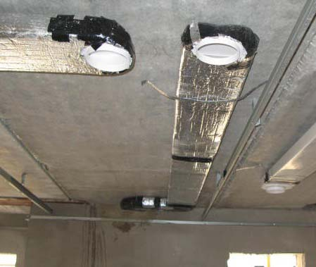 Insulate ducting passing through unheated spaces