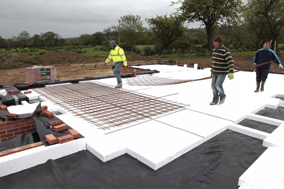 Steel mesh was then laid on layer 3 . . .
