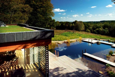 Sedum roof and natural swimming pond