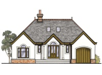 drawing of the exterior of a one and a half storey bungalow