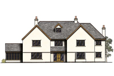 Drawing of a three storey traditional family home with sunroom