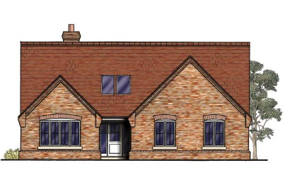 Drawing of a brick-clad three bedroom bungalow