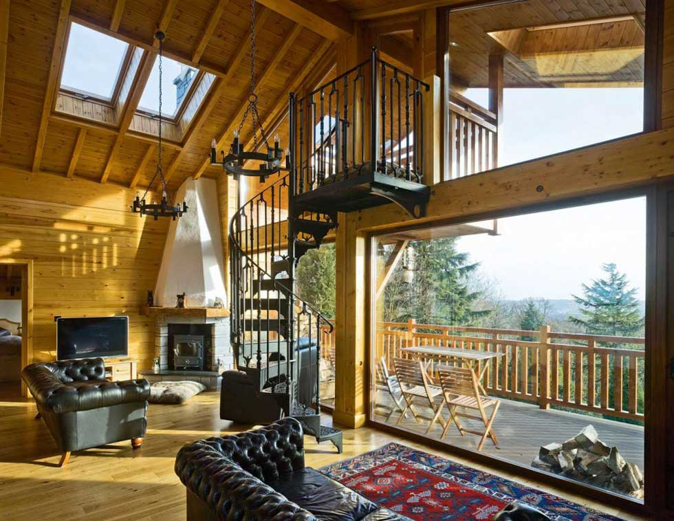 Double height living space in this Swiss Chalet self build in Yorkshire