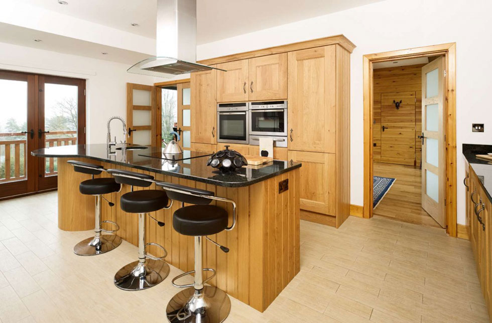 Kitchen in Swiss chalet-style self build in Yorkshire