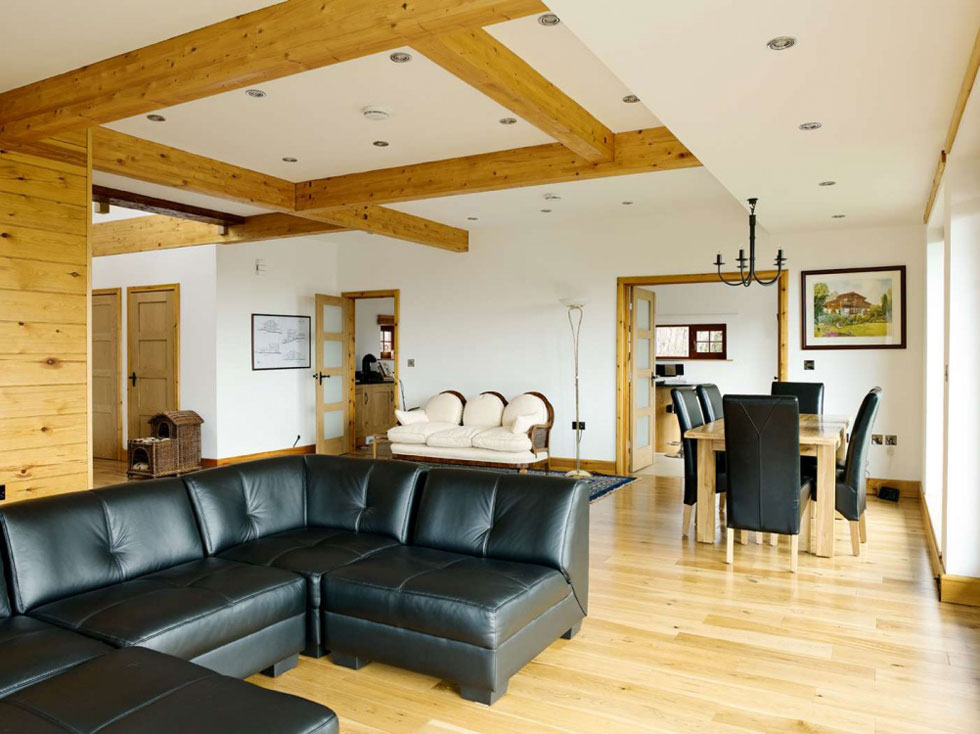 Living/dining space in Swiss chalet-style self build