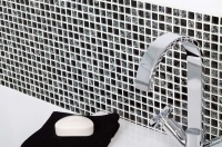 Black Crackle Glass Mosaic tiles, Better Bathrooms