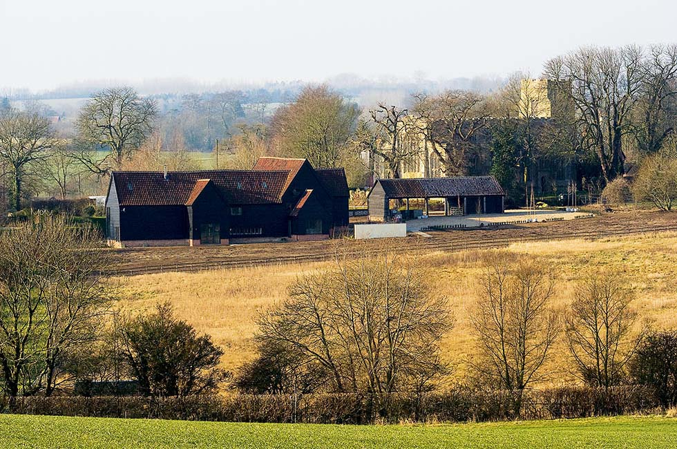 Chantry Barn viewed from nearby fields