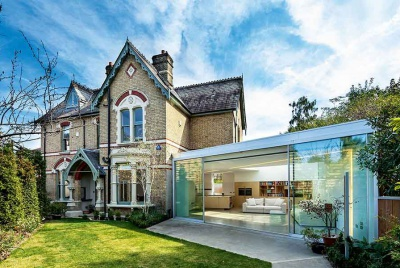 Victorian home with glass extension