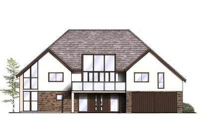 Drawing of a two storey house design with glazed sections