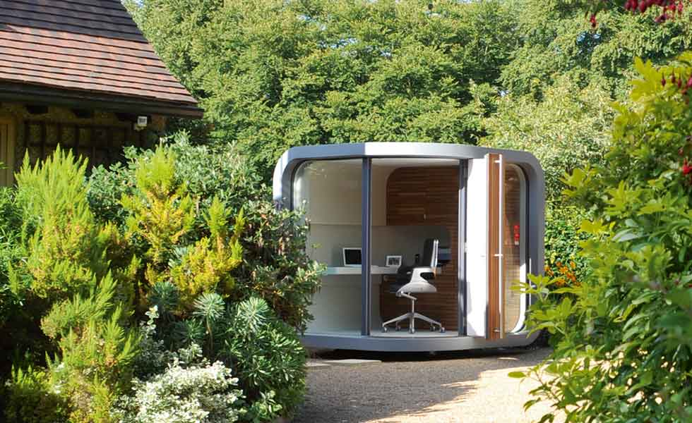 Outdoor office building garden pod