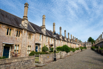 The 15th-century tall chimneys at Vicars Close in Wells