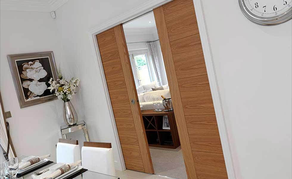 River Oak Tigris Pocket Door