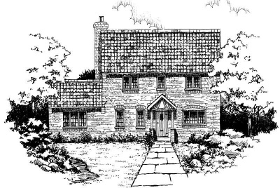 sketch of a Georgian style cottage