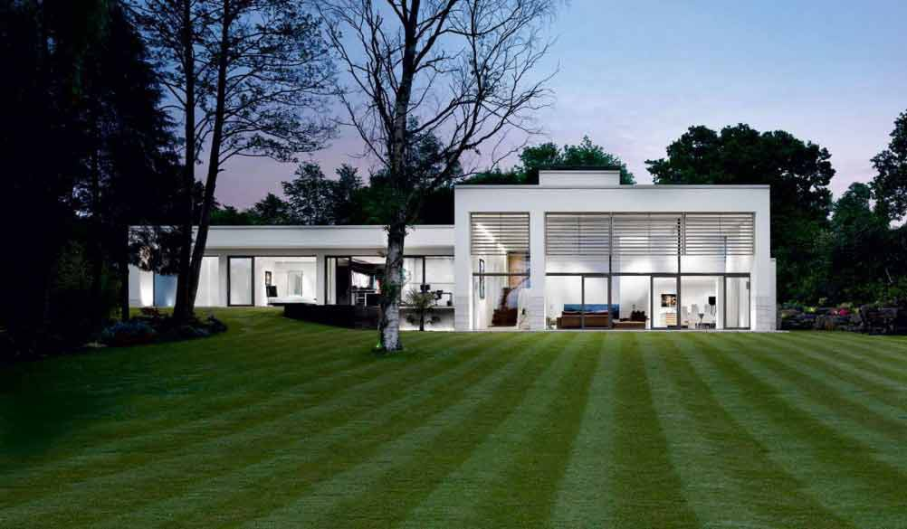 Exterior of split level single storey home with white render