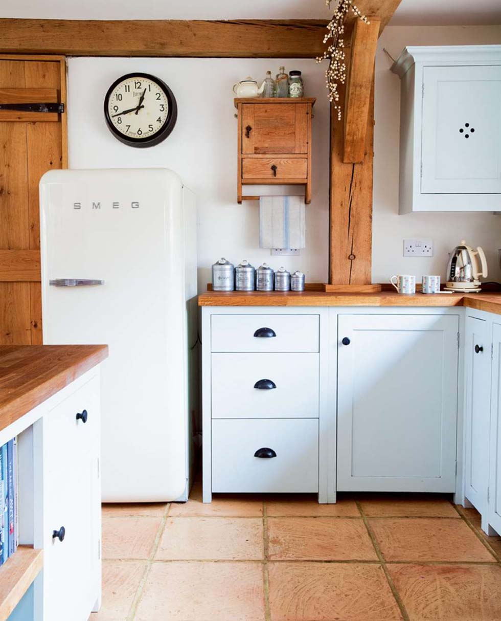 Handmade painted kitchen cabinets and SMEG fridge