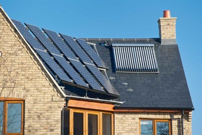 Solar thermal system on roof