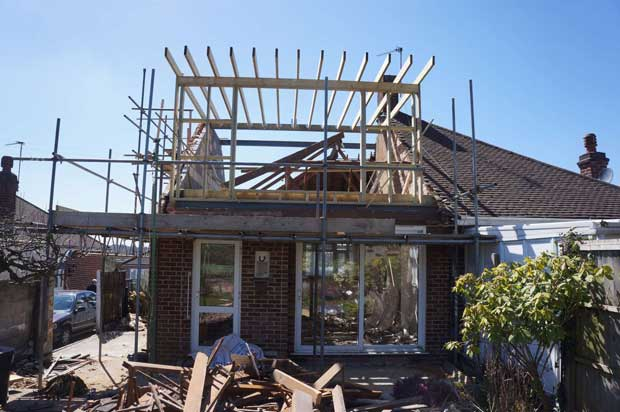 Construction of the dormer viewed from the rear of the house