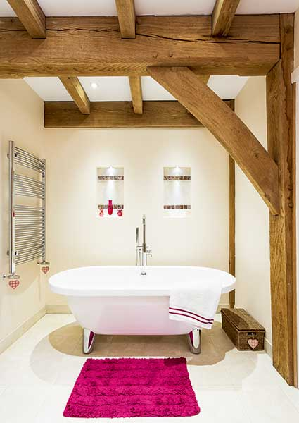 bathroom in oak frame home