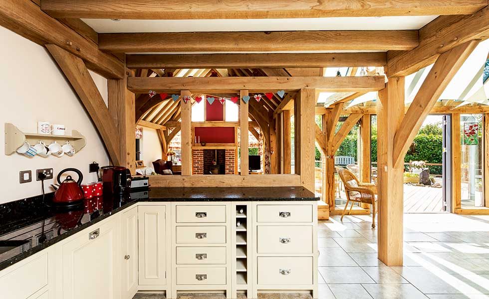 timber frame country style kitchen