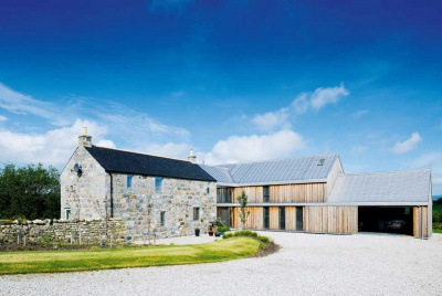 An extended granite farmhouse