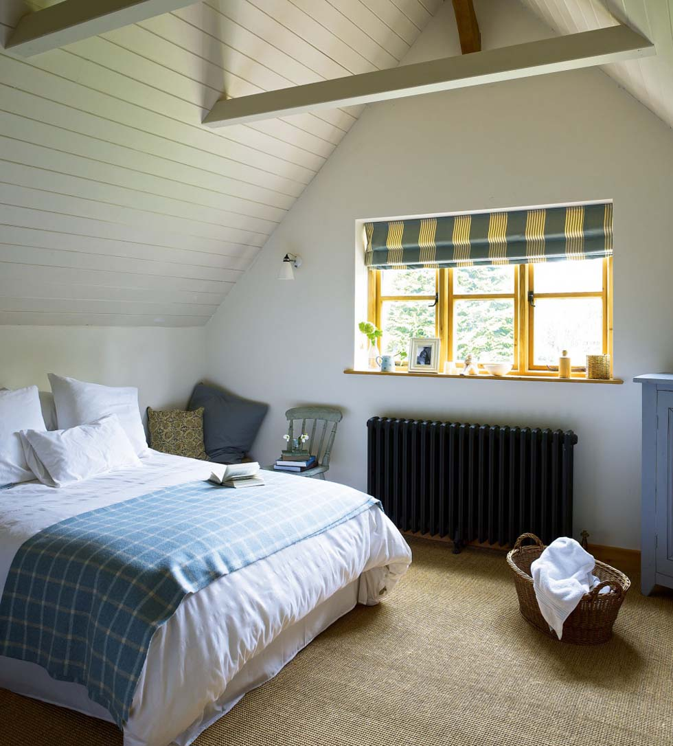 The master bedroom with vaulted ceiling