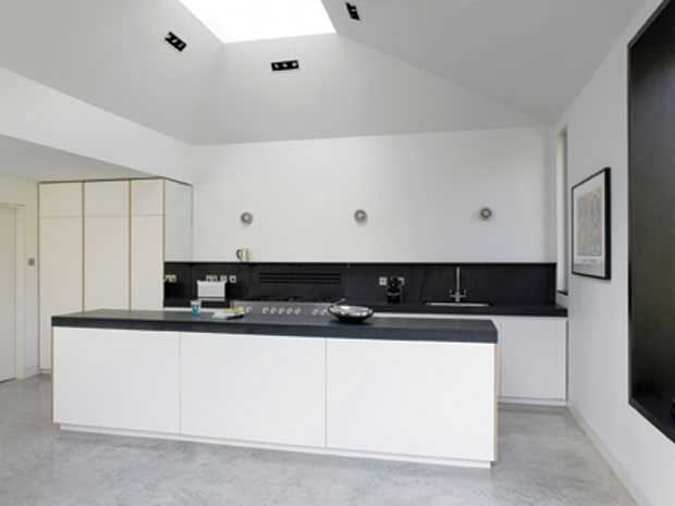 monochrome kitchen units in pavilion style