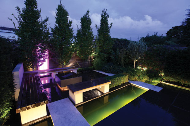 garden lighting scheme at night