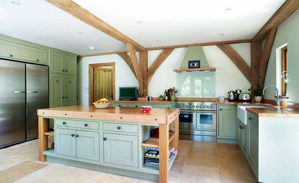 duck egg blue barn style self build kitchen