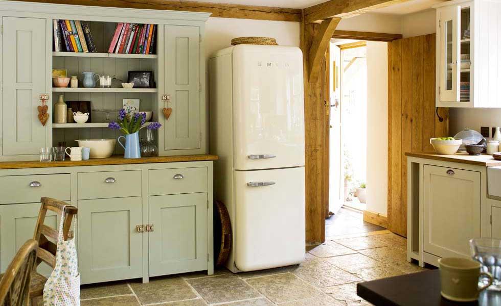 modern oak frame kitchen with green dresser