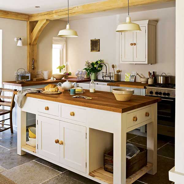 cream country style kitchen with timber worktops