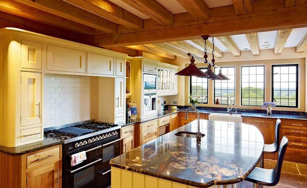 oak framed kitchen marble tops