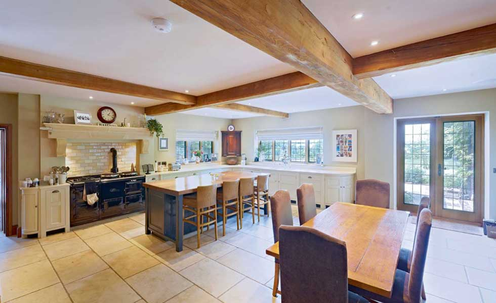 kitchen of an oak frame country home