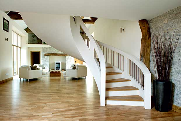 A curved feature staircase