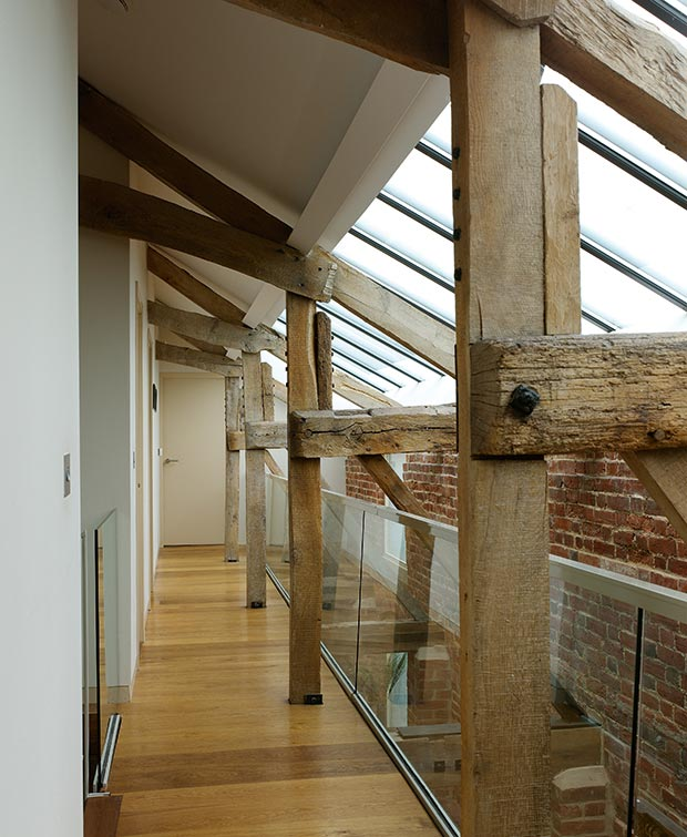 Rooflights bring natural light into a barn conversion