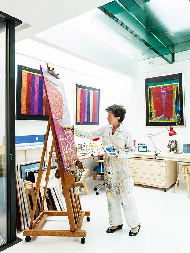 Ruth Macdonald in her new art studio in a glass ceilinged basement