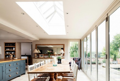 A roof lantern in the kitchen of a converted coach house