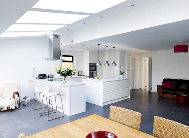 a clean crisp white kitchen in a contemporary style