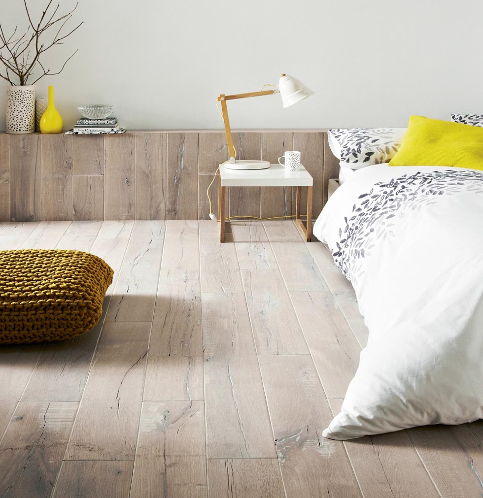 'Topps Tiles' Antarctic half-filled, brushed, solid oak planks. '