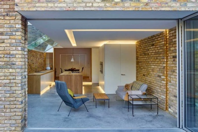 Contemporary kitchen extension with polished concrete floors