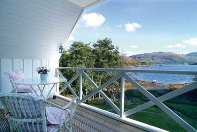 Covered balcony on a Scandinavian style home in Scotland