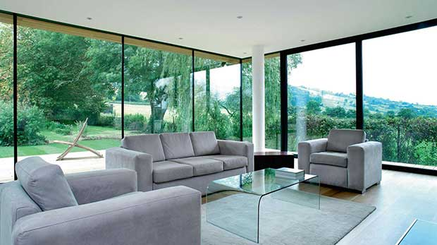 Floor to ceiling glass in a modern self build